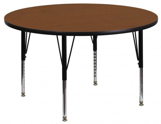 "48"" Round Pre-School Adjustable Height Oak Activity Table"