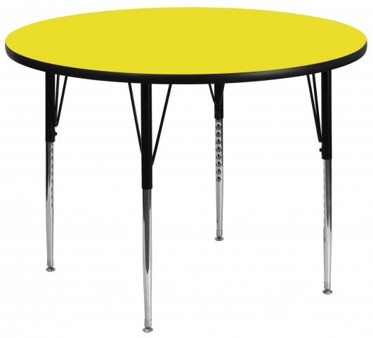 "48"" Round Adjustable Height Yellow Activity Table"