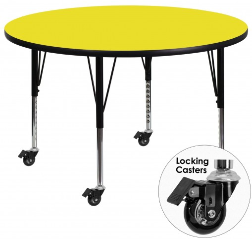 "Mobile 48"" Round Pre-School Adjustable Height Yellow Activity Table"