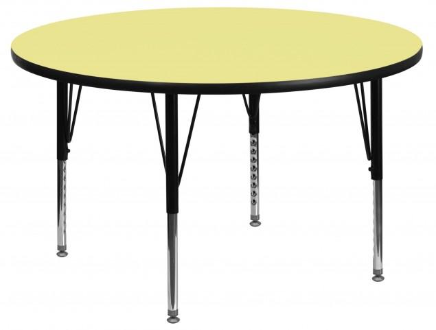 "48"" Round Pre-School Yellow Activity Table"