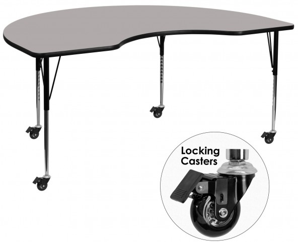 """Mobile 72""""L Kidney Shaped Adjustable Height Gray Activity Table"""