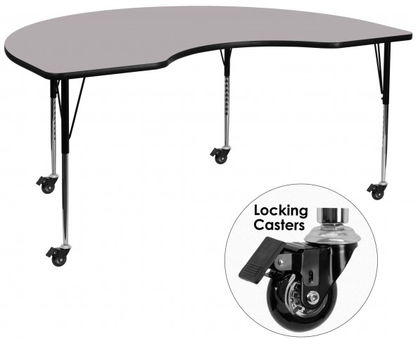 """Mobile 48""""W x 72""""L Kidney Shaped Gray Activity Table"""