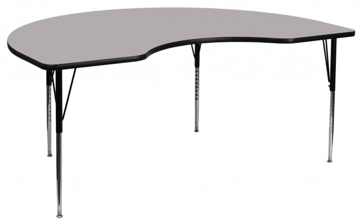"72""L Kidney Shaped Gray Activity Table"