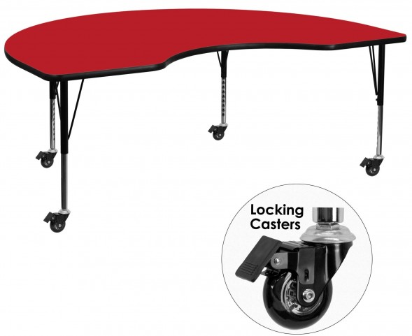 """Mobile 72""""L Kidney Shaped Pre-School Adjustable Red Activity Table"""