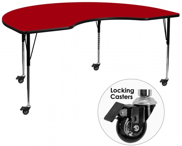 "Mobile 72""L Kidney Shaped Red Activity Table"
