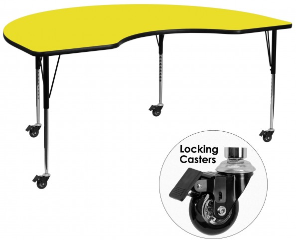 """Mobile 72""""L Kidney Shaped Adjustable Height Yellow Activity Table"""