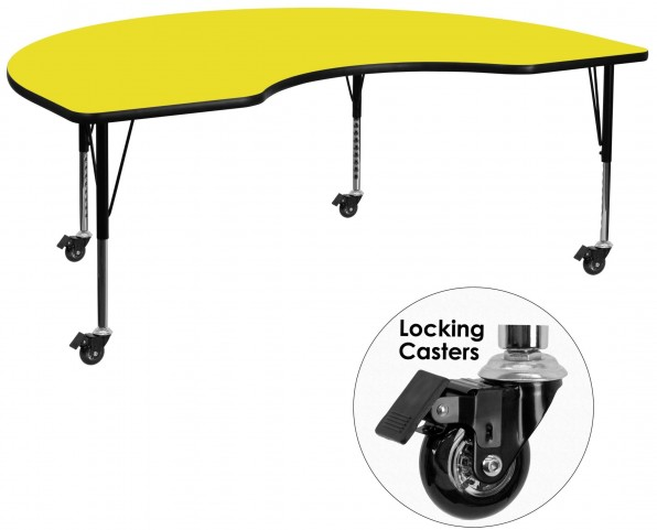 """Mobile 72""""L Kidney Shaped Pre-School Adjustable Yellow Activity Table"""