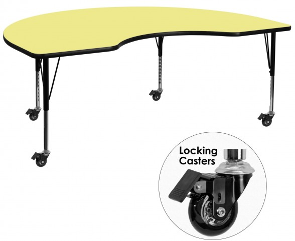 """Mobile 72""""L Kidney Shaped Pre-School Yellow Activity Table"""
