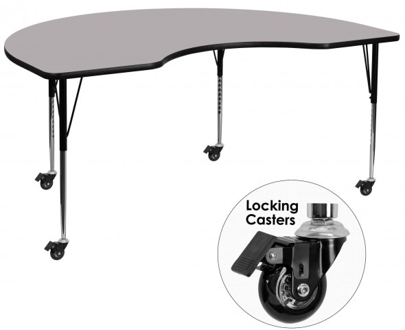 """Mobile 96""""L Kidney Shaped Gray Activity Table"""