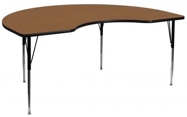 "96""L Kidney Shaped Oak Activity Table"