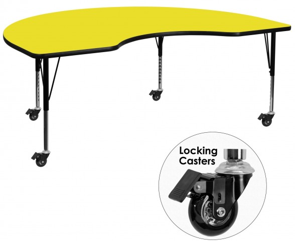 "Mobile 96""L Kidney Shaped Pre-School Adjustable Yellow Activity Table"