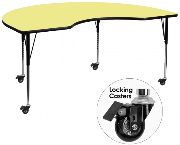 """Mobile 96""""L Kidney Shaped Yellow Activity Table"""