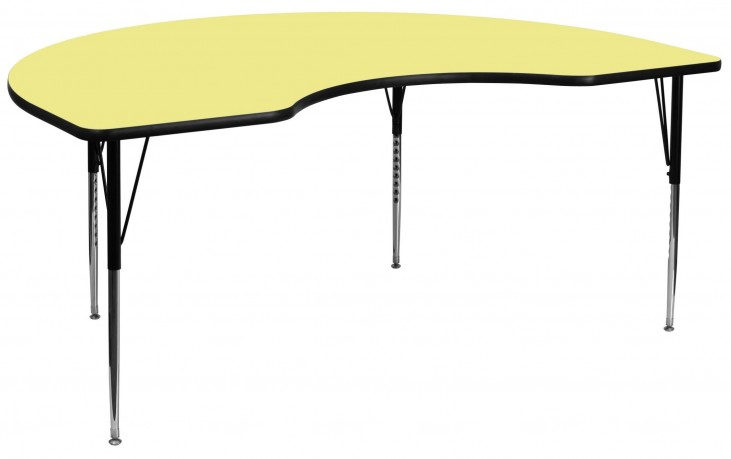 """96""""L Kidney Shaped Yellow Activity Table"""