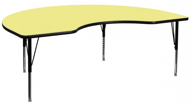 """96""""L Kidney Shaped Pre-School Yellow Activity Table"""