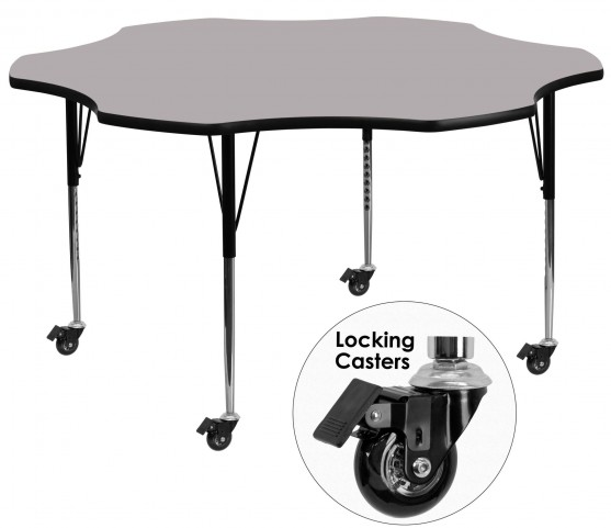 "Mobile 60"" Flower Shaped Adjustable Height Gray Activity Table"