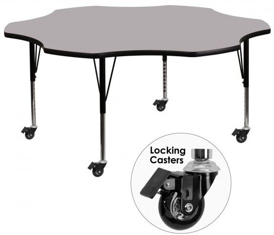 """Mobile 60"""" Flower Shaped Pre-School Adjustable Gray Activity Table"""