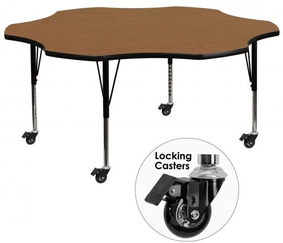 "Mobile 60"" Flower Shaped Pre-School Adjustable Oak Activity Table"