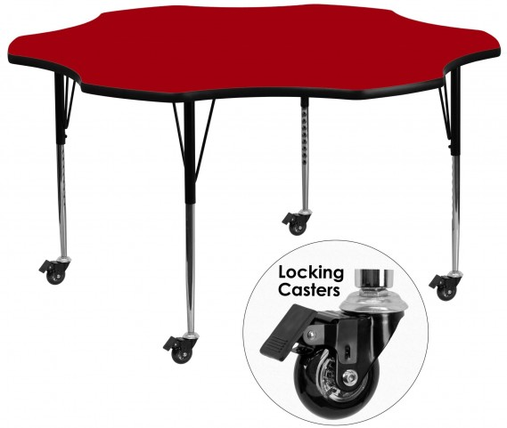 "Mobile 60"" Flower Shaped Adjustable Height Red Activity Table"