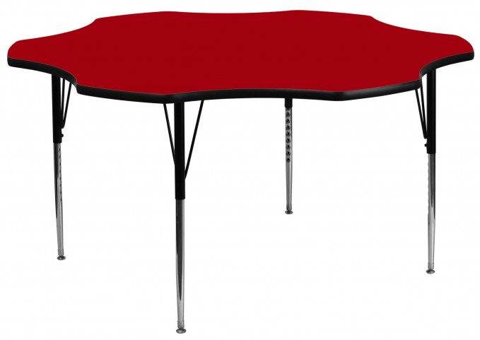 "60"" Flower Shaped Adjustable Height Red Activity Table"