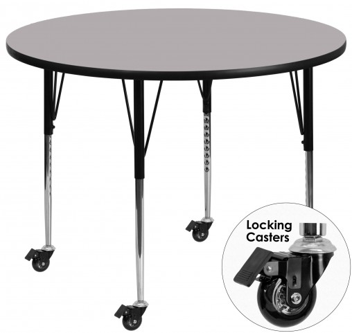 "Mobile 60"" Round Adjustable Height Gray Activity Table"