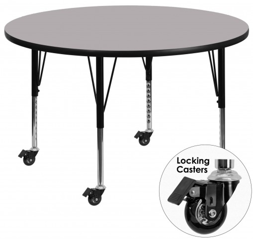 """Mobile 60"""" Round Pre-School Adjustable Height Gray Activity Table"""