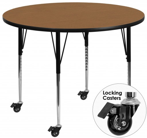 "Mobile 60"" Round Adjustable Height Oak Activity Table"