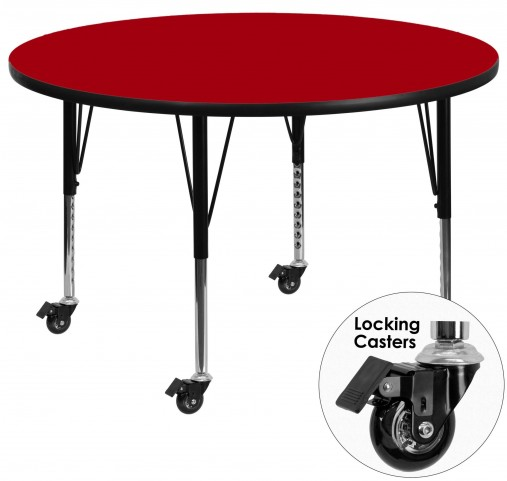 "Mobile 60"" Round Pre-School Adjustable Height Red Activity Table"