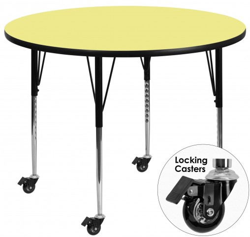 "Mobile 60"" Round Adjustable Height Yellow Activity Table"