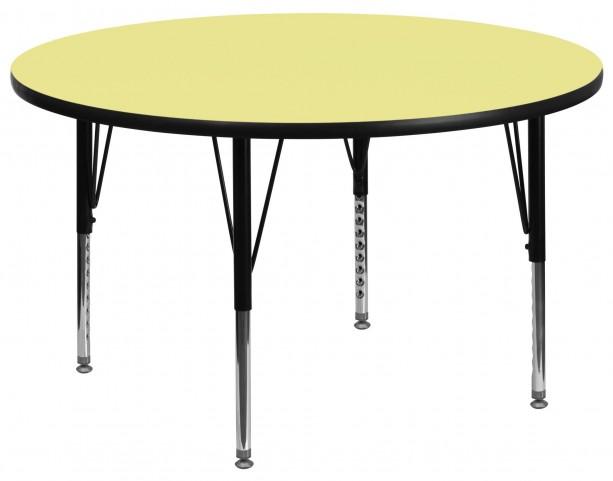 "60"" Round Pre-School Adjustable Height Yellow Activity Table"