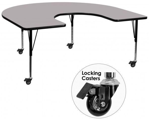 "Mobile 66""L Horseshoe Pre-School Adjustable Gray Activity Table"