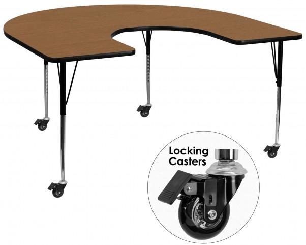 "Mobile 66""L Horseshoe Adjustable Height Oak Activity Table"