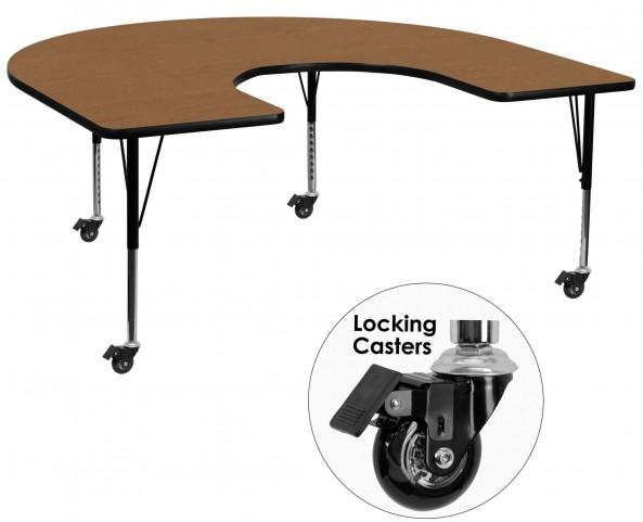 "Mobile 66""L Horseshoe Pre-School Adjustable Height Oak Activity Table"