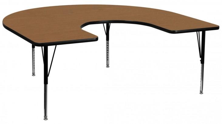 "66""L Horseshoe Pre-School Adjustable Height Oak Activity Table"