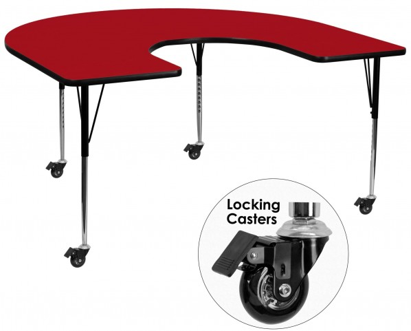 "Mobile 66""L Horseshoe Adjustable Height Red Activity Table"