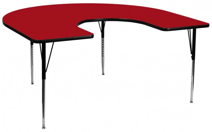 """66""""L Horseshoe Adjustable Height Red Activity Table"""