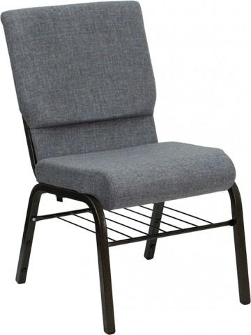 Hercules 18''W Gray Stacking Church Chair Gold Vein Frame Book Basket