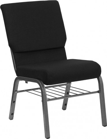 18.5''W Black Stacking Hercules Church Chair - Silver Vein Frame Finish, Book Basket