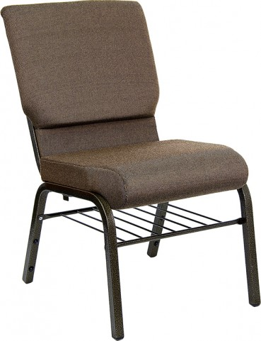 18.5''W Brown Fabric Hercules Church Chair with 4.25'' Thick Seat, Book Basket - Gold Vein Frame Finish
