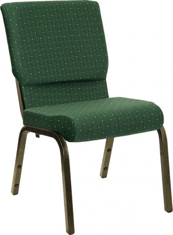 18.5''W Green Patterned Stacking Hercules Church Chair with 4.25'' Thick Seat - Gold Vein Frame