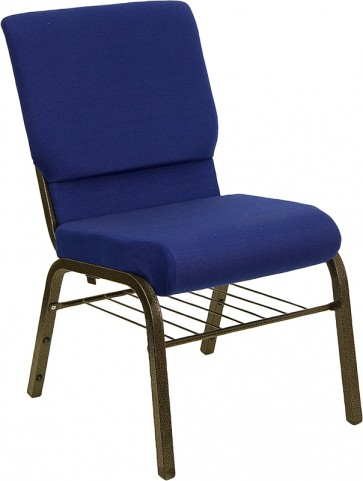 18.5''W Navy Blue Hercules Church Chair with 4.25'' Thick Seat, Book Basket - Gold Vein Frame