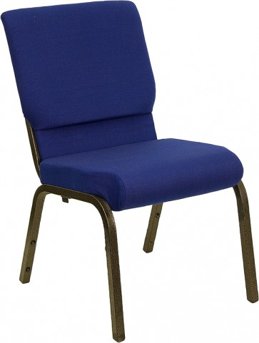 18.5''W Navy Blue Stacking Hercules Church Chair with 4.25'' Thick Seat - Gold Vein Frame