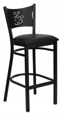 Hercules Series Black Coffee Metal Vinyl Restaurant Bar Stool