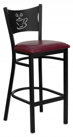 Hercules Series Black Coffee Metal Burgundy Vinyl Restaurant Bar Stool