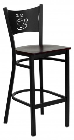 Hercules Series Black Coffee Metal Mahogany Wood Restaurant Bar Stool