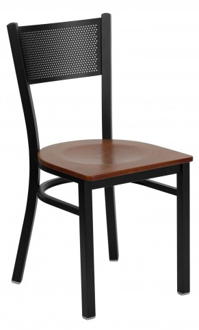 Hercules Series Black Grid Back Metal Cherry Wood Restaurant Chair