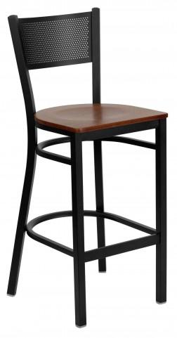 Hercules Series Black Grid Back Cherry Wood Restaurant Bar Stool