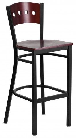 60515 Hercules Series Black 4 Square Back Wood Restaurant Barstool