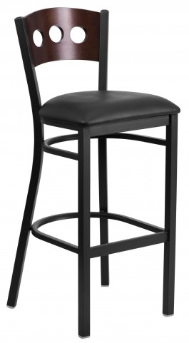60516 Hercules Series Black 3 Circle Back Vinyl Restaurant Barstool