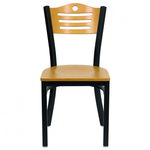 Hercules Black Slat Back Metal Restaurant Chair W/ Wood Back & Seat