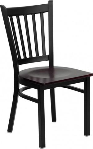 Hercules Black Vertical Back Metal Restaurant Chair Mahogany Wood Seat
